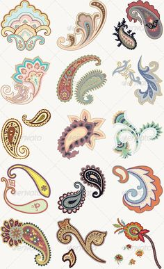 Buy Paisley Set by blueduck on GraphicRiver. This set contains different types of paisley symbols. Each one in its own layer for easy manipulation. Motif Paisley, Paisley Art, Paisley Fabric, Motif Floral, Paisley Design, Mandala Design, Paisley Doodle, Paisley Flower, Lotus Flower