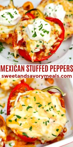 Mexican Stuffed Peppers are filled with ground beef green chiles rice tomato sauce and taco seasoning. Entree Recipes, Lunch Recipes, Easy Dinner Recipes, Mexican Food Recipes, Beef Recipes, Cooking Recipes, Healthy Recipes, Kitchen Recipes, Mexican Stuffed Peppers