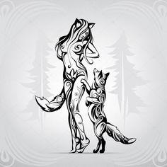 Descargar - Meeting of foxes in woods — Ilustración de stock #67899891