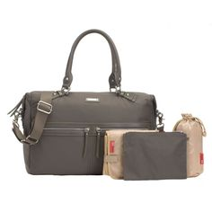 Storksak Caroline Nylon Fabric Diaper Bag - Storm Grey | Designer Diaper Bags  www.duematernity.com