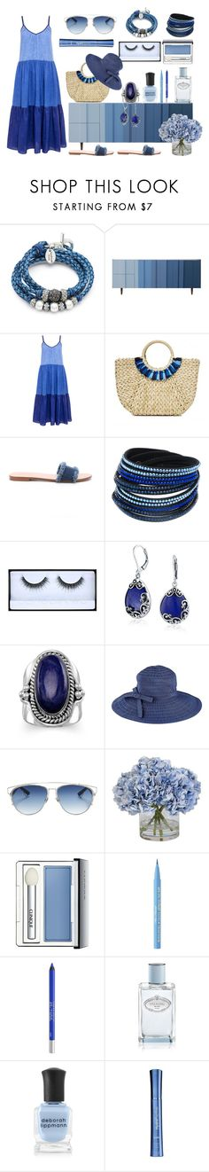 """""""Boho Blues"""" by thecharmingmagnolia-etsy ❤ liked on Polyvore featuring Lizzy James, Bobby Berk Home, M.i.h Jeans, Hat Attack, Bettye, Sevil Designs, Huda Beauty, Bling Jewelry, BillyTheTree and San Diego Hat Co."""