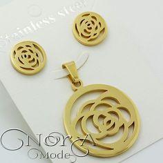 نیم ست استیل گل رز با روکش طلای  عیار کد:171 قیمت:38تومان  #noragallery #jewelry  #jewels #necklace  #bracelet #mashhad #clips #زیورآلات #گردنبند #گل #گلسر #طلا #نقره #کریستال #جواهر #جواهرات #دستبند #روسری #زیور  #کهکشان #ماه #فیروزه #چشم_زخم #ستاره #کلید #مشهد #زیورآلات_مشهد