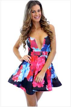 Floral Printing Straps Padded Short Dress
