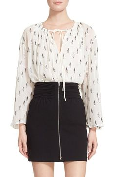 IRO Metallic Embroidered Silk Peasant Blouse available at #Nordstrom