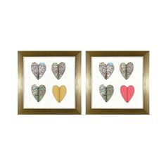 3D Paper Hearts Framed Wall Art - Gold ($20) ❤ liked on Polyvore featuring home, home decor, wall art, gold home accessories, paper wall art, gold home decor, gold framed wall art and map wall art
