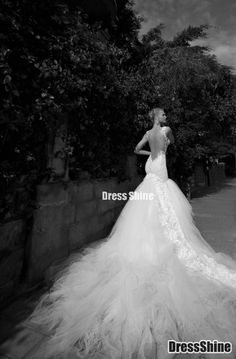 Gorgeous Tulle Sheer Lace Cathedral Length Train Backless Wedding Dress - Wedding Dresses - Weddings