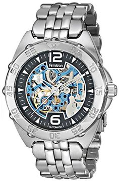Armitron Herren 20/4768BISV Automatic Silver-Tone and Blue Accented Dress Uhr
