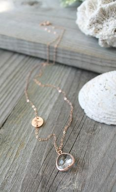 Long Initial Necklace, 14K rose Gold Filled chain, Faceted framed glass pendant, personalized letter, Custom stamped disc, layering