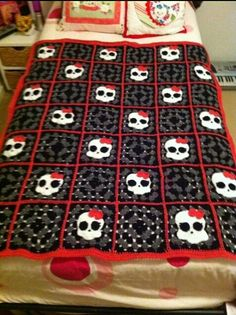 Girly Skull Granny Square Crochet Blanket