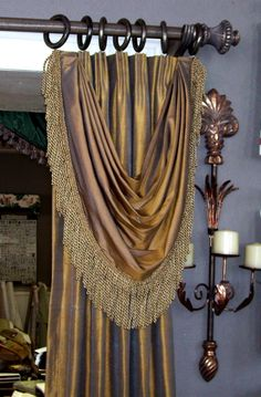 Euro pleated drapery with Bustle Swag. An easier way to add formality. Curtains And Draperies, Luxury Curtains, Home Curtains, Drapery Panels, Hanging Curtains, Valances, Swags And Tails, Drapery Designs, Beautiful Curtains