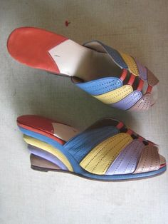 Rare 1940s COLORED WEDGES Shoes WWII-Rhythm Riot Swing 40s Hardly Worn. $150.00, via Etsy.
