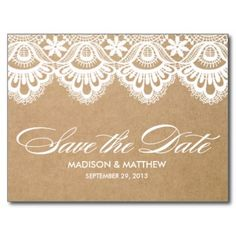 RUSTIC LACE | SAVE THE DATE POST CARD