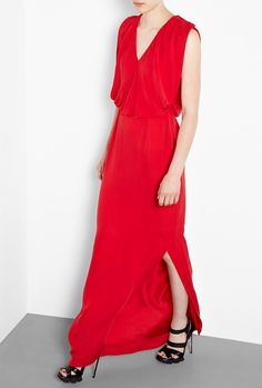 Silk Georgette V Neck Wallis Gown by Raoul