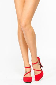 These red heels would be perfect for a holiday party. The right height to dance the night away without throwing them at the wall the moment you get home! $32