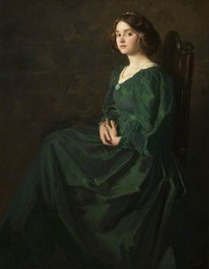 'The Green Gown', Marjory Mostyn, daughter of the artist | Thomas Edwin Mostyn (date unknown)
