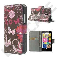 Moberg (Sommerfugle & Blomster) Nokia Lumia 630 / 635 Læder Flip Etui