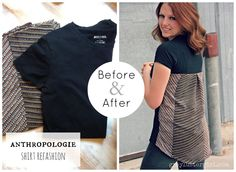 30 Elegant Photo of Sewing Tshirts Refashion . Sewing Tshirts Refashion To Small Tshirt Refashion Anthropologie Shirt Refashion Lots Of Sewing Hacks, Sewing Tutorials, Sewing Patterns, Sewing Projects, Diy Clothing, Sewing Clothes, Refashioned Clothing, T-shirt Refashion, Clothes Refashion