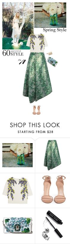 """Asymmetric skirts"" by helena99 ❤ liked on Polyvore featuring J.W. Anderson, Dolce&Gabbana, Stuart Weitzman, Bobbi Brown Cosmetics, Stila, floral, dolceandgabbana, asymmetricskirts and 60secondstyle"