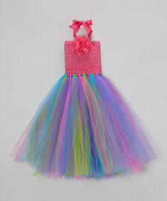 Loving this Rainbow Tutu Dress & Flower Clip - Girls on #zulily! #zulilyfinds