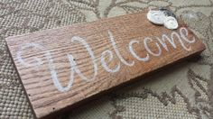 Solid Oak Welcome Sign with fabric Rosettes shabby by iheartsigns, $15.00