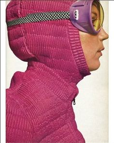 Ski fashion, 1967; we have come a long way; and, at the same time, what goes around comes around.  ;)