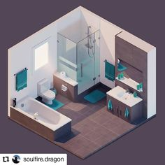 Stylized bathroom Art by · · · · · · · · · · · · · · · H Design, Flat Design, House Design, Isometric Art, Isometric Design, The Sims, Ideas Baños, Blender 3d, Mini Doll House