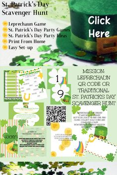 Patricks Day Treasure Hunt / Leprechaun Hunt for Kids / St. Patricks Day Party / Clue Game / St – Find Your St Patrick's Day Activities Scavenger Hunt For Kids, Scavenger Hunts, St Patricks Day Spiele, Leprechaun Games, St Patrick's Day Games, Birthday Party Games, 21st Birthday, Christmas Birthday, Christmas Holidays