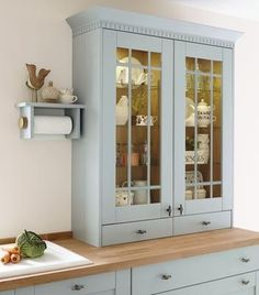 Tall Beaded Glass Wall Units with Internal Glass Shelves, Tongue & Groove End Panel featuring Bespoke Kitchen Roll Holder