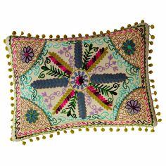 Cuscino multicolore in cotone con pompon 35 x 50 cm | Maisons du Monde