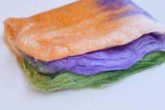 Silk Hankies Mawata Squares for Felting Spinning in Orange Purple Green 12282 Nuno Felting, Mulberry Silk, Orange And Purple, Spinning, Squares, Food, Hand Spinning, Meals, Yemek
