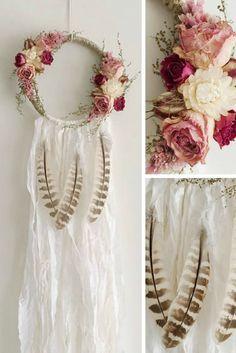 Small Boho Dreamcatcher | Botanical | White Floral Wallhanging | Floral Dream Catcher | Bohemian | Boho Style | Nursery Decor | #ad