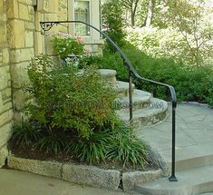 flowing wrought iron handrail only, curved on site, with cast iron scrolls Outside Handrails, Porch Handrails, Exterior Handrail, Outdoor Stair Railing, Iron Handrails, Wrought Iron Stair Railing, Iron Railings, Banisters, Garden Railings