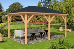 The Samos Larch Gazebo measures 2.9 x4.9m and provides the perfect venue for summer parties in the garden. A large gazebo with rectangular roof and supported by six wooden posts. FREE Shingles Offer is available with this gazebo