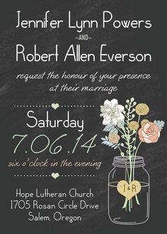 boho chalkboard mason jar green pocket floral ribbon wedding invitation EWPI191