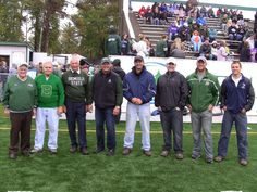 Former members of the BSU football team from decades 1940-2010 served as honorary captains of the Homecoming Game Sept. 28, 2013. More photos from the alumni gathering - https://www.facebook.com/media/set/?set=a.10152277162683989.1073741857.39296833988&type=1