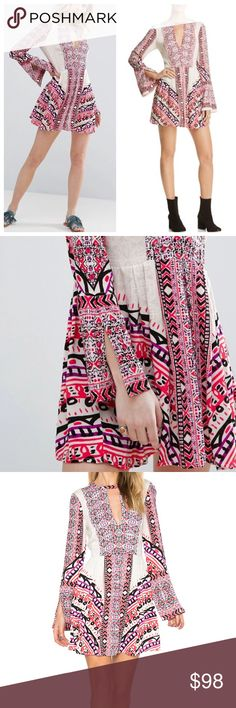 Free People Oriental Red Keyhole Boho Dress New with all tags included!   Brand New,  Very comfortable 100% Rayon  **Offers are welcome!  **NO TRADE   Thank you very much! Free People Dresses Mini