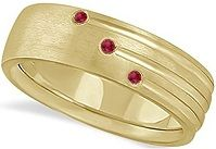 #Jewelry Mens Shooting Star Ruby Wedding Ring Band 14k White Gold
