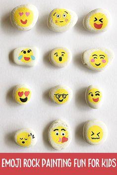 Rock Painting Ideas for Kids: Emoji Rocks Fun Crafts For Kids, Summer Crafts, Preschool Crafts, Diy For Kids, Summer Fun, Rock Painting Ideas Easy, Painting For Kids, Painting Art, Pebble Painting