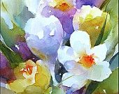 Crocuses, Original Watercolor Painting 9x12 inches