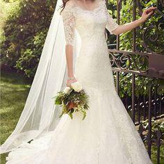 Gorgeous Off Shoulder Half Sleeve Custom Make Mermaid Lace Wedding Party Dresses, WD0093