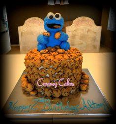 SALECookie Monster Cake Topper 6 Blue Cake by creamyspecialtycakes, $35.00