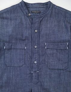 Engineered Garments - denim collarless, pullover shirt..:
