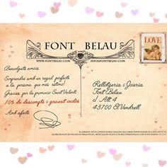 Aquest Sant Valentí serà de postal. T'encantarà la promoció especial que hem dissenyat per la celebració del Dia dels Enamorats. En qualsevol de les compres que facis en rellotges, articles de plata o de bijuteria, obtindràs un 10% de descompte i la possibilitat de personalitzar el teu regal amb un gravat gratuït. La promoció ja ha començat, i estarà vigent fins el diumenge 15 de febrer.