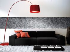 Black living room furniture, lends a very sophisticated look to the room. Using black living room furniture can make the interiors look very classy. Modern Mosaic Tile, White Mosaic Tiles, Glass Tiles, Black And White Living Room Decor, Living Room Modern, Modern Light Fixtures, Modern Floor Lamps, Red Floor Lamp, Wall Design