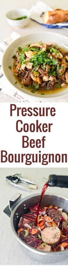 A quick and easy recipe for pressure cooker Beef Bourguignon that's ready in just two hours, and full of flavor! Grain-free and paleo-friendly French meal.