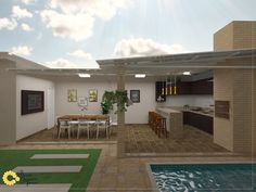 Decoradornet - O seu decorador a uma tela de distância! Modern Outdoor Kitchen, Indoor Outdoor Living, Outdoor Decor, Patio Design, House Design, Tropical Pool Landscaping, Small Pool Design, Backyard Patio, My Dream Home