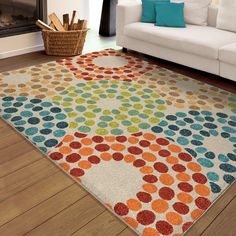 "Carolina Weavers Indoor/Outdoor Santa Barbara Collection Sprinkled Doughnut Multi Area Rug (5'2 x 7' (5'2"" x 7'6""), Blue, Size 5' x 8' (Plastic, Dots)"