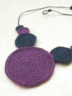 Black and Purple  crochet necklace by knotfabrications on Etsy, $18.00