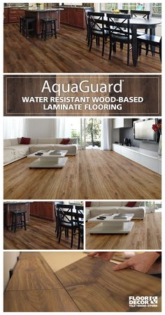 AquaGuard is a water-resistant laminate that looks and feels like authentic hardwood. There's now a laminate option for every room in the house — … – Flooring Designs Wood Laminate, Kitchen Flooring, Basement Flooring, Laminate Flooring In Bathroom, Aquaguard Flooring, Floor Decor, Basement Remodeling, Home Renovation, Home Projects
