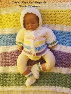 This crochet pattern is to make this sweet little pastel set in two sizes birth through 1 year.